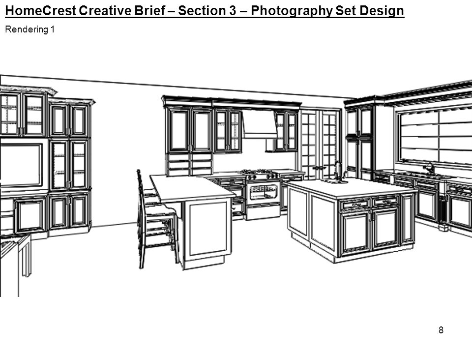 8 HomeCrest Creative Brief – Section 3 – Photography Set Design Rendering 1