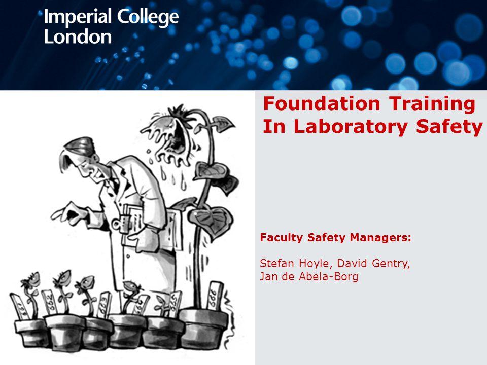 Foundation training 1.Principles of laboratory safety (including bio safety) 2.Hazardous chemicals 3.Gases, cryogenics and other hazards