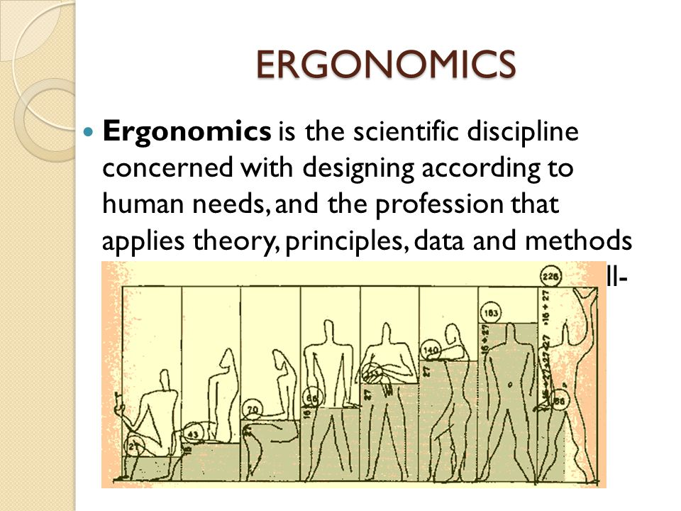 ERGONOMICS Ergonomics is the scientific discipline concerned with designing according to human needs, and the profession that applies theory, principl