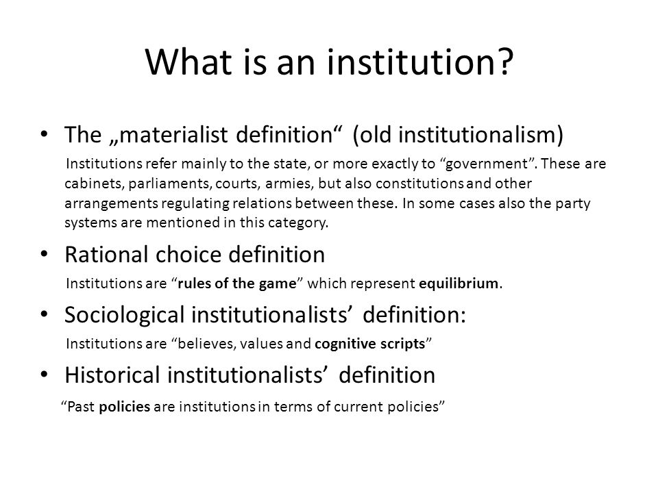 What is an institution.