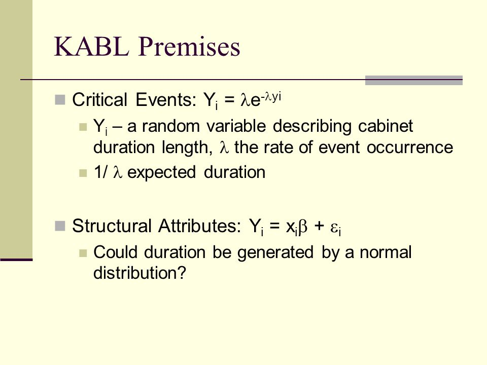KABL Premises Critical Events: Y i = e - yi Y i – a random variable describing cabinet duration length, the rate of event occurrence 1/ expected durat