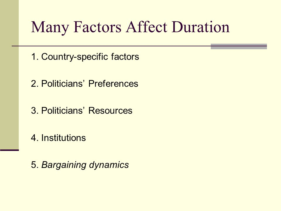 Many Factors Affect Duration 1. Country-specific factors 2.