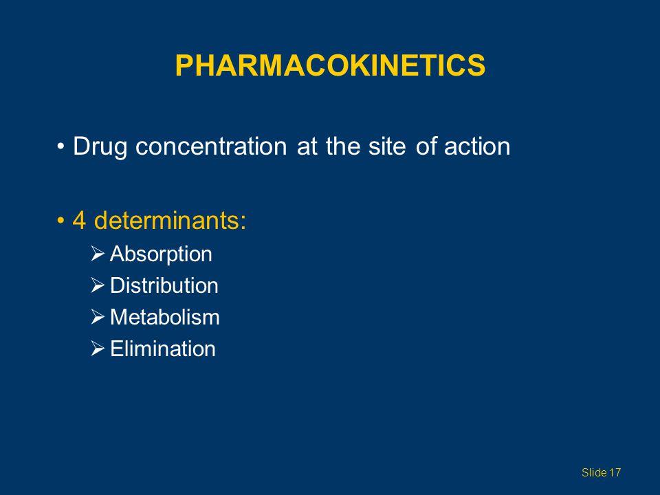 PHARMACOKINETICS Drug concentration at the site of action 4 determinants: Absorption Distribution Metabolism Elimination Slide 17
