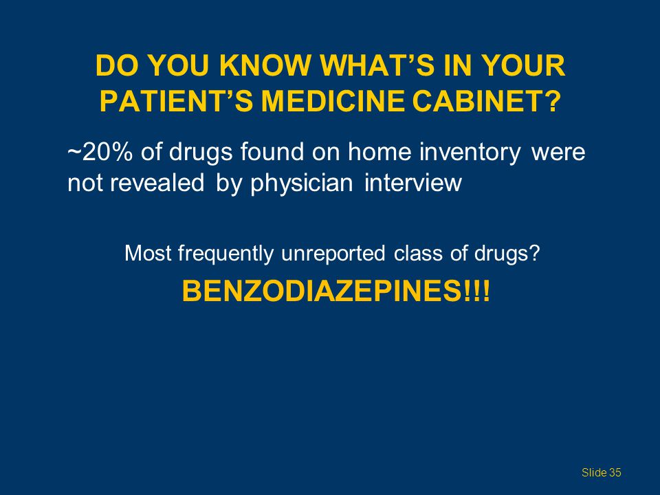 DO YOU KNOW WHATS IN YOUR PATIENTS MEDICINE CABINET? ~20% of drugs found on home inventory were not revealed by physician interview Most frequently un