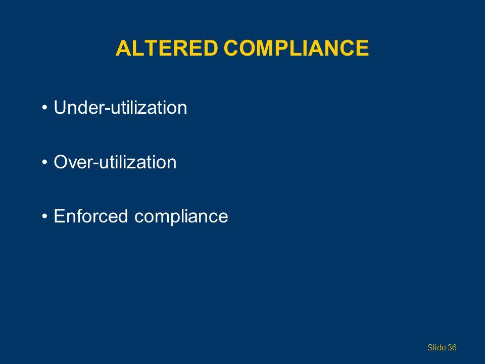 ALTERED COMPLIANCE Under-utilization Over-utilization Enforced compliance Slide 36