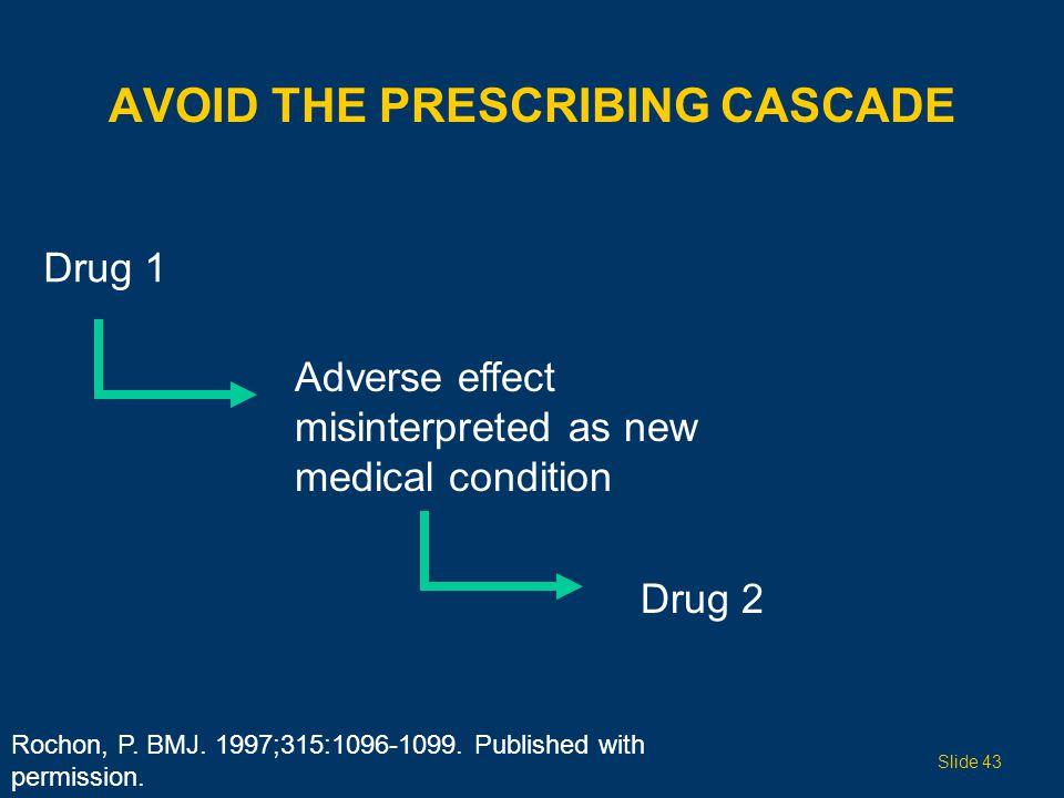 AVOID THE PRESCRIBING CASCADE Drug 1 Adverse effect misinterpreted as new medical condition Drug 2 Slide 43 Rochon, P. BMJ. 1997;315:1096-1099. Publis