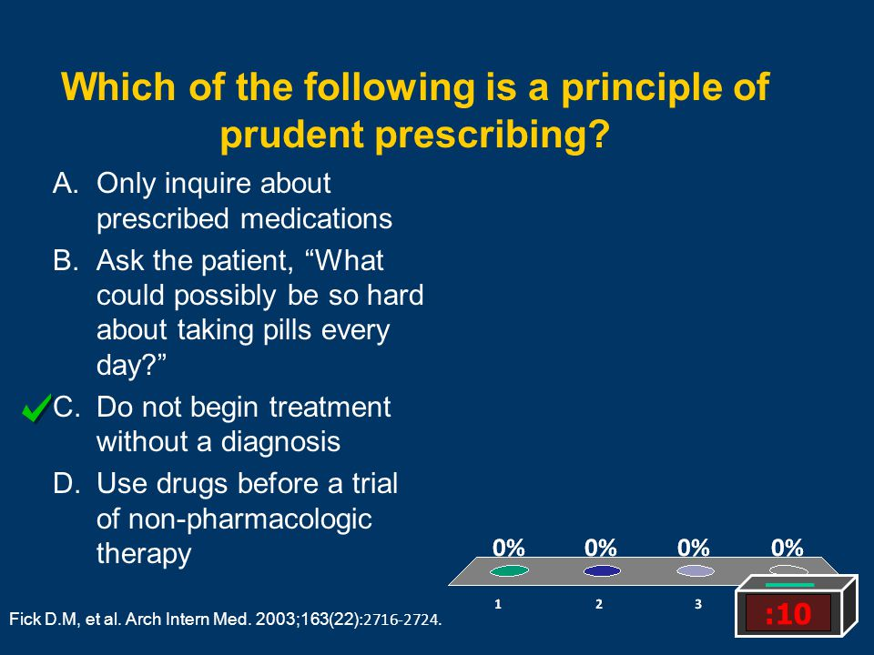 Which of the following is a principle of prudent prescribing? A.Only inquire about prescribed medications B.Ask the patient, What could possibly be so