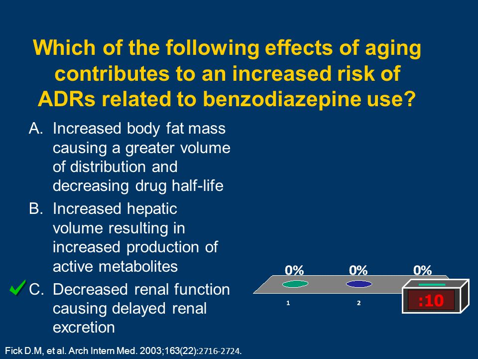 Which of the following effects of aging contributes to an increased risk of ADRs related to benzodiazepine use? A.Increased body fat mass causing a gr