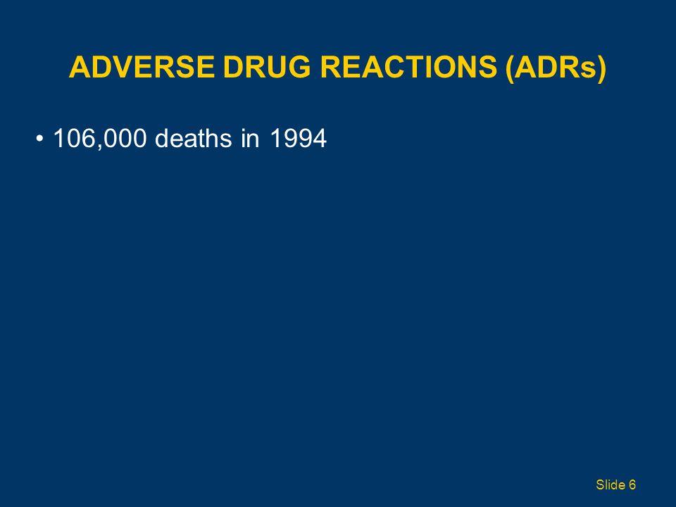 ADVERSE DRUG REACTIONS (ADRs) 106,000 deaths in 1994 Slide 6