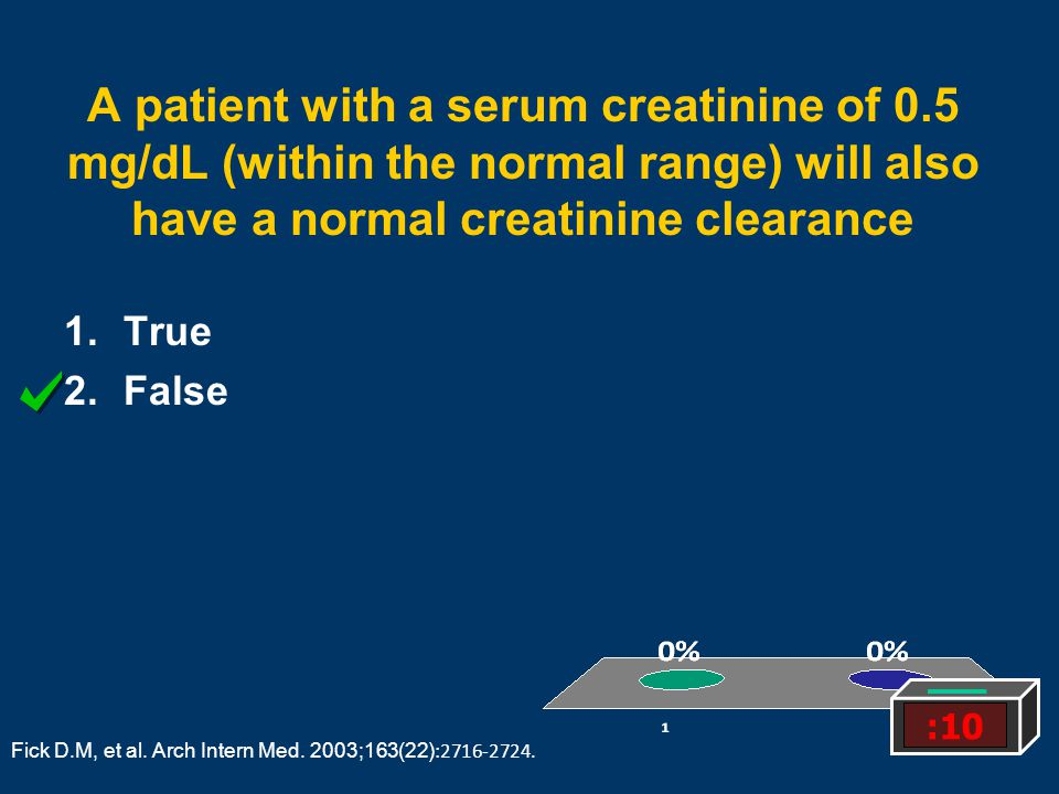 A patient with a serum creatinine of 0.5 mg/dL (within the normal range) will also have a normal creatinine clearance 1.True 2.False :10 Fick D.M, et