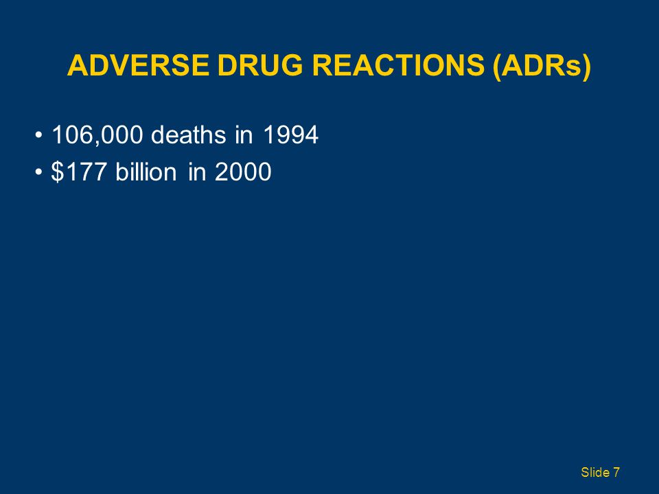ADVERSE DRUG REACTIONS (ADRs) 106,000 deaths in 1994 $177 billion in 2000 Slide 7