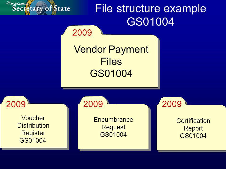 File structure example GS01004 2009 Voucher Distribution Register GS01004 Encumbrance Request GS01004 Certification Report GS01004 Vendor Payment Files GS01004