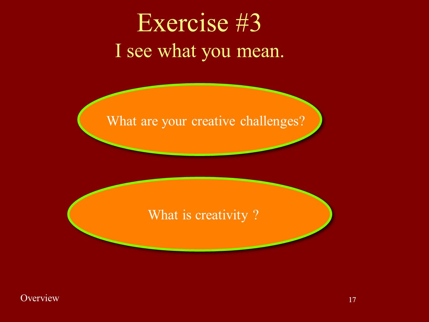 17 What is creativity ? What are your creative challenges? Exercise #3 I see what you mean. Overview