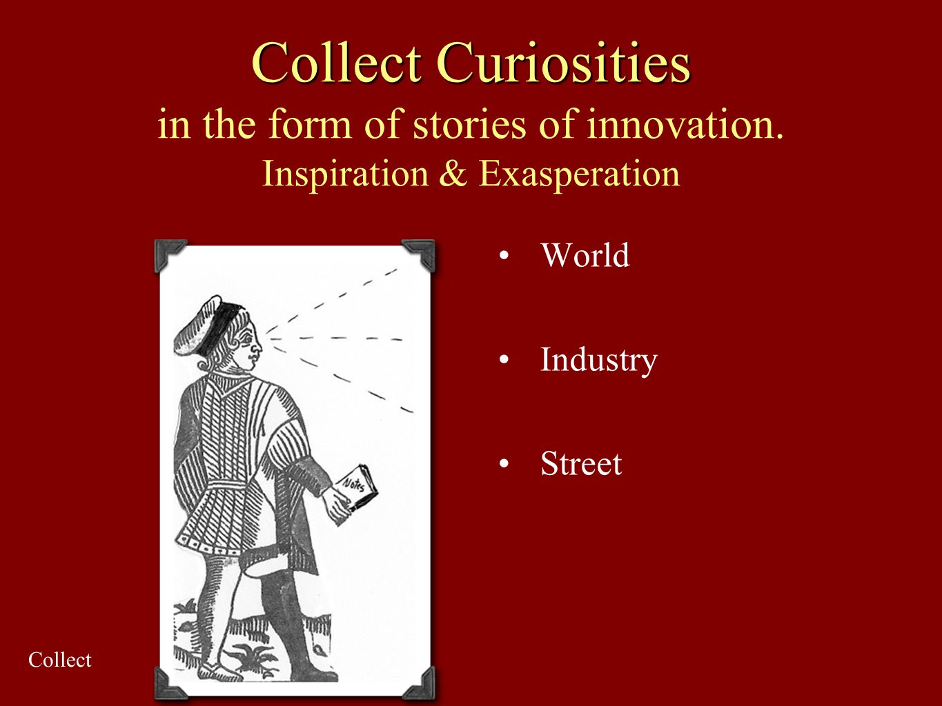Collect Curiosities Collect Curiosities in the form of stories of innovation. Inspiration & Exasperation World Industry Street Collect