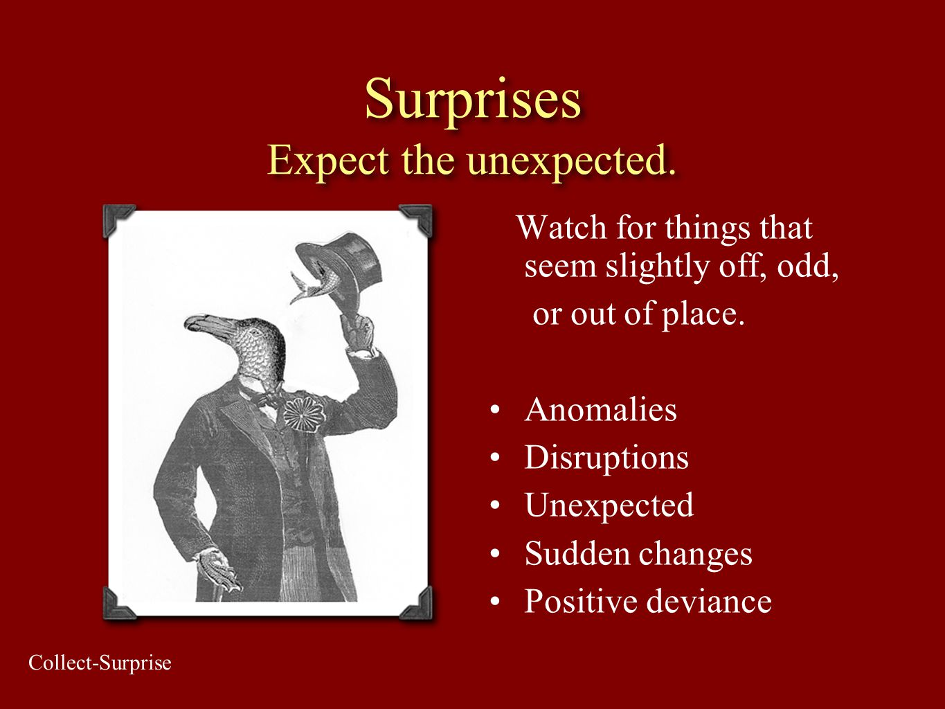 Surprises Expect the unexpected. Watch for things that seem slightly off, odd, or out of place. Anomalies Disruptions Unexpected Sudden changes Positi