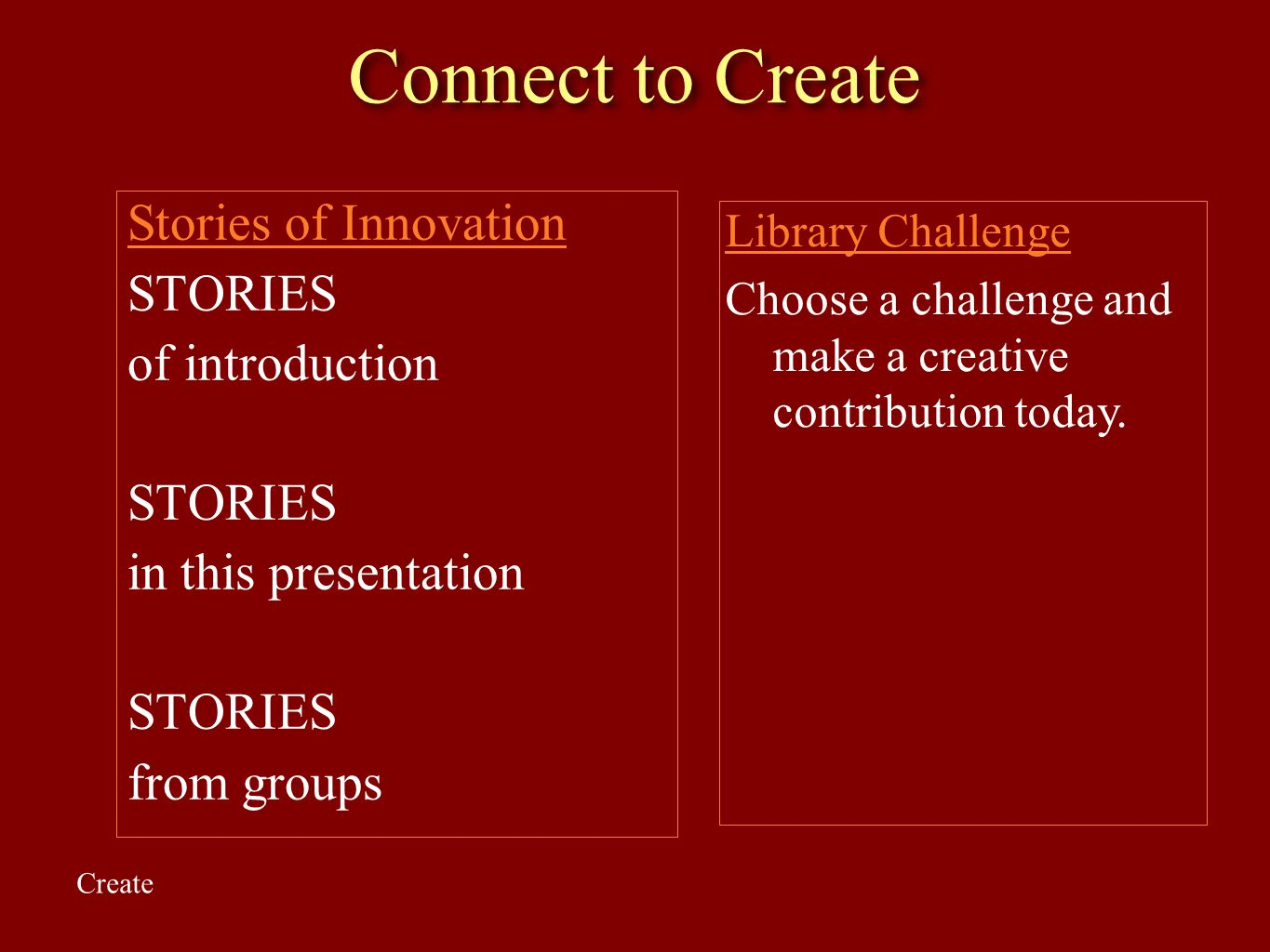 Connect to Create Stories of Innovation STORIES of introduction STORIES in this presentation STORIES from groups Library Challenge Choose a challenge