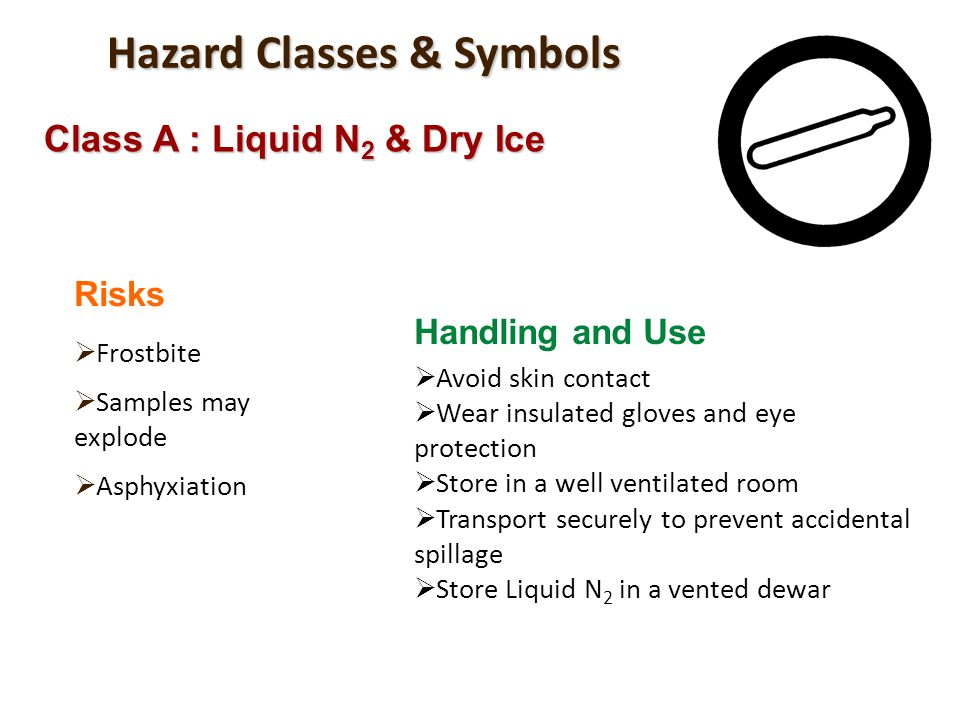 Hazard Classes & Symbols Class A : Liquid N 2 & Dry Ice Risks Frostbite Samples may explode Asphyxiation Handling and Use Avoid skin contact Wear insu