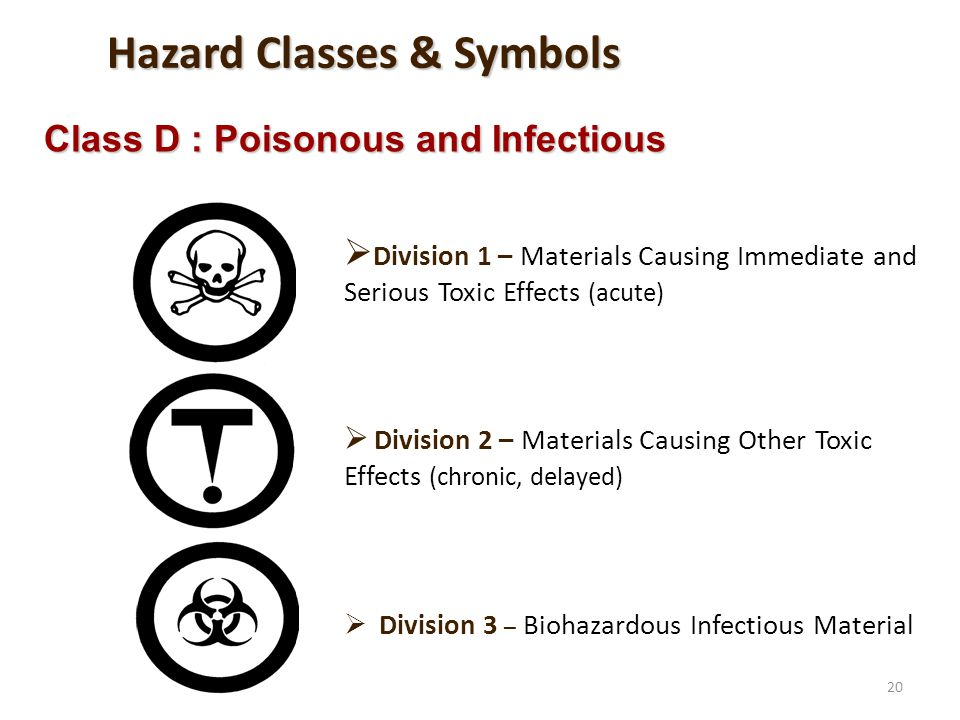 20 Division 1 – Materials Causing Immediate and Serious Toxic Effects (acute) Division 2 – Materials Causing Other Toxic Effects (chronic, delayed) Di