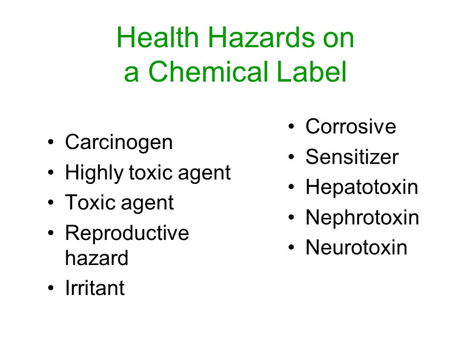 Health Hazards on a Chemical Label Carcinogen Highly toxic agent Toxic agent Reproductive hazard Irritant Corrosive Sensitizer Hepatotoxin Nephrotoxin