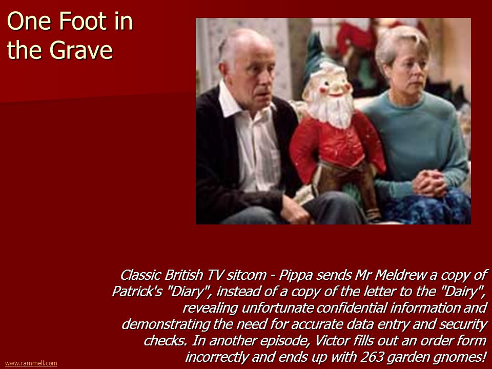 www.rammell.com One Foot in the Grave Classic British TV sitcom - Pippa sends Mr Meldrew a copy of Patrick's