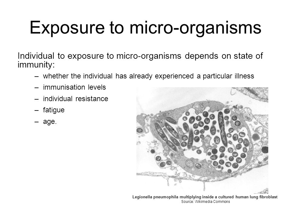 Exposure to micro-organisms Individual to exposure to micro-organisms depends on state of immunity: –whether the individual has already experienced a particular illness –immunisation levels –individual resistance –fatigue –age.