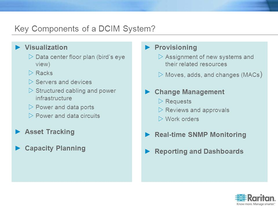 Key Components of a DCIM System? Visualization Data center floor plan (birds eye view) Racks Servers and devices Structured cabling and power infrastr