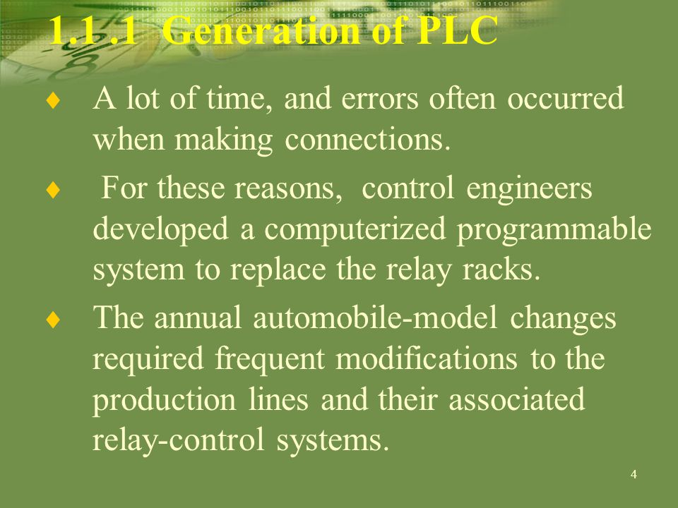 5 1.1.1 Generation of PLC Because the control systems were complex, the modifications took a lot of time, and errors often occurred when making connections.