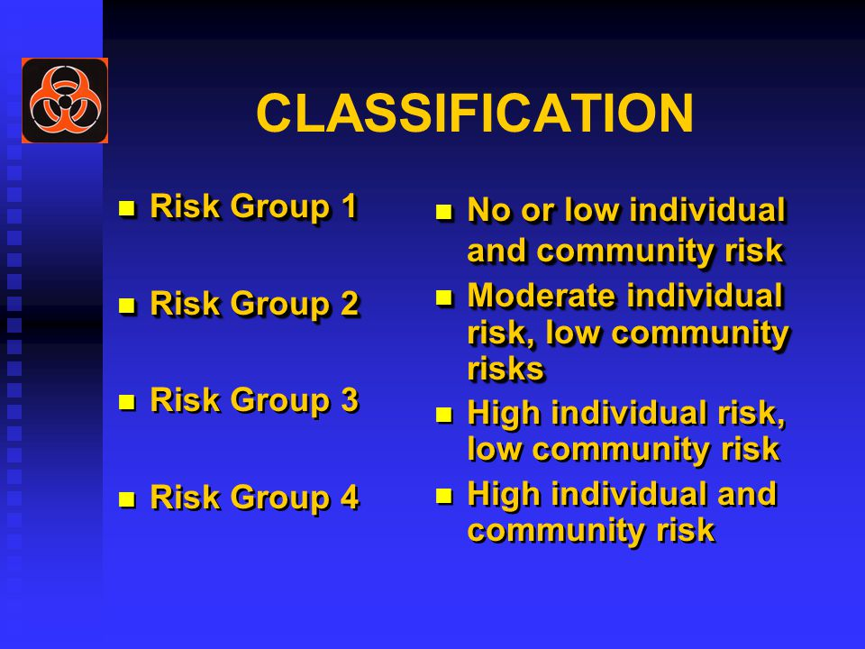CLASSIFICATION Risk Group 1 Risk Group 1 Risk Group 2 Risk Group 2 Risk Group 3 Risk Group 4 Risk Group 1 Risk Group 1 Risk Group 2 Risk Group 2 Risk Group 3 Risk Group 4 No or low individual and community risk Moderate individual risk, low community risks High individual risk, low community risk High individual and community risk No or low individual and community risk Moderate individual risk, low community risks High individual risk, low community risk High individual and community risk