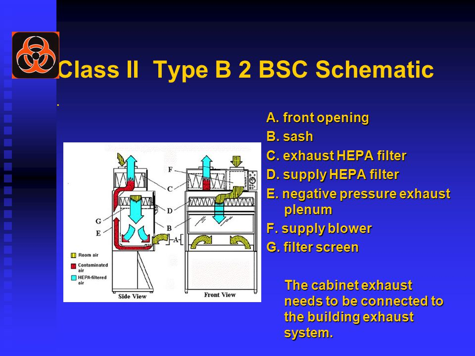 Class II Type B 2 BSC Schematic. A. front opening B.