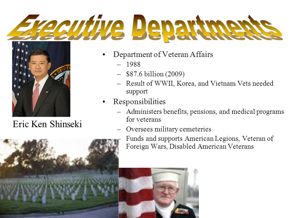 Department of Veteran Affairs –1988 –$87.6 billion (2009) –Result of WWII, Korea, and Vietnam Vets needed support Responsibilities –Administers benefits, pensions, and medical programs for veterans –Oversees military cemeteries –Funds and supports American Legions, Veteran of Foreign Wars, Disabled American Veterans Eric Ken Shinseki