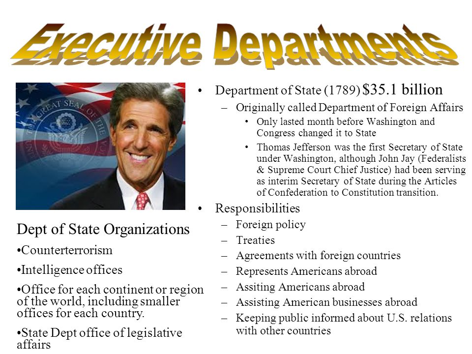 Department of Energy –1977 Responsibilities –Promotes production of renewable energy, fossil fuels, and nuclear energy –Conducts nuclear weapons research and clean up –Transmits and sells hydroelectric power –Regulates energy star qualifications Refrigorators, washers and dryers, –Environmental policy Greenhouse gases/emissions CO 2 footprints –Carbon Offsets –Alternative and new sources of energy researcy and funding Grants –Solar powered research etc