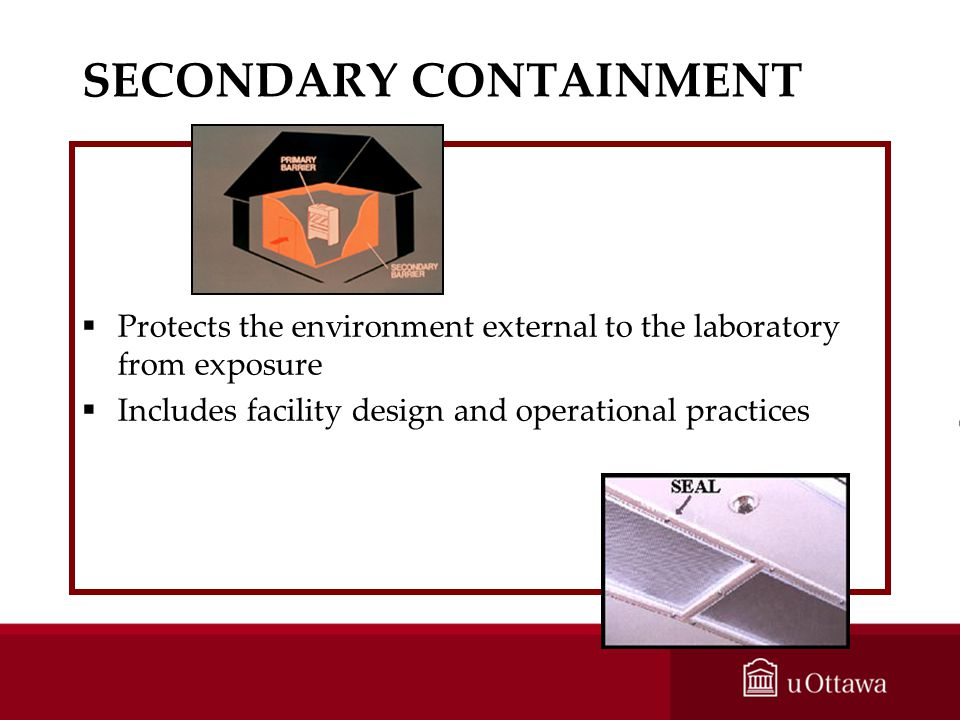 SECONDARY CONTAINMENT Protects the environment external to the laboratory from exposure Includes facility design and operational practices