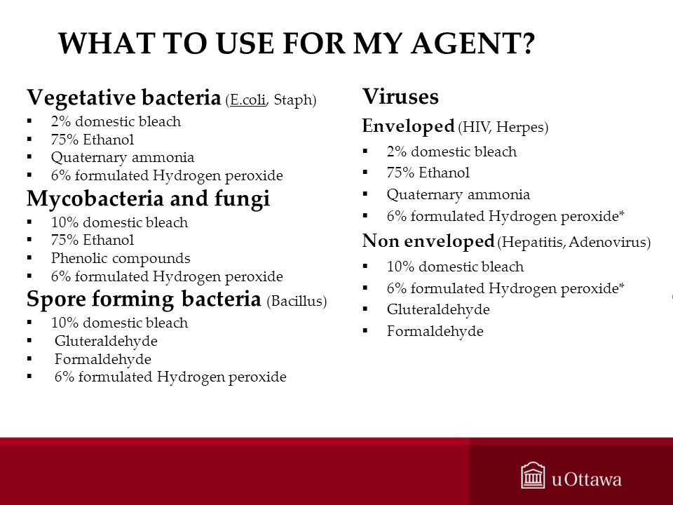 WHAT TO USE FOR MY AGENT? Vegetative bacteria (E.coli, Staph) 2% domestic bleach 75% Ethanol Quaternary ammonia 6% formulated Hydrogen peroxide Mycoba