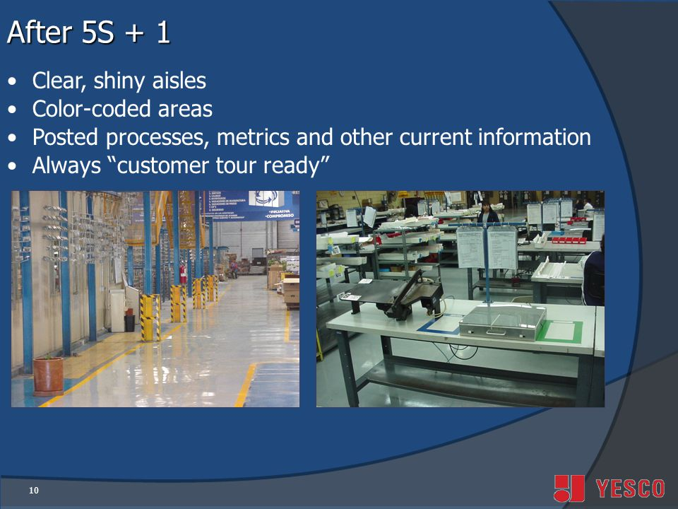 10 After 5S + 1 Clear, shiny aisles Color-coded areas Posted processes, metrics and other current information Always customer tour ready