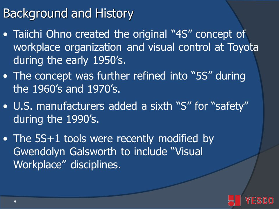 4 Background and History Taiichi Ohno created the original 4S concept of workplace organization and visual control at Toyota during the early 1950s.