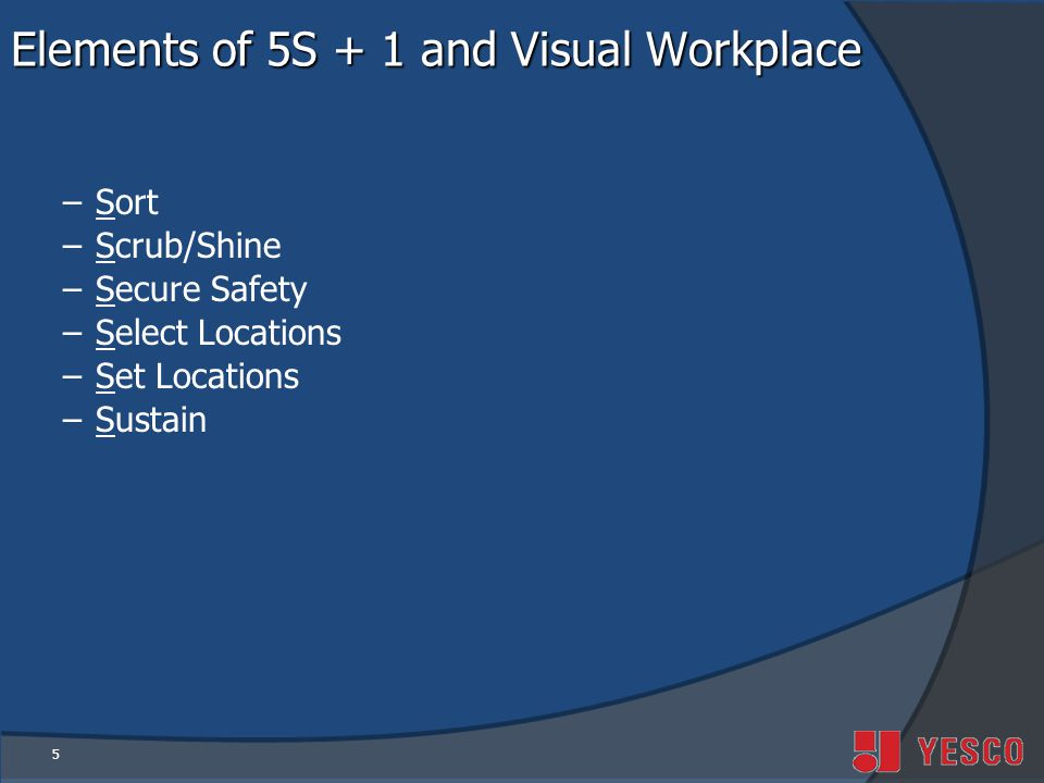 5 Elements of 5S + 1 and Visual Workplace –Sort –Scrub/Shine –Secure Safety –Select Locations –Set Locations –Sustain
