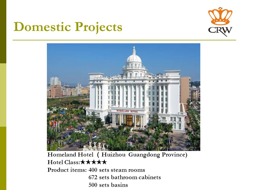 Overseas Projects Four Seasons HotelBeverly Hills, California Hotel Class: Project items: 158 sets shower rooms