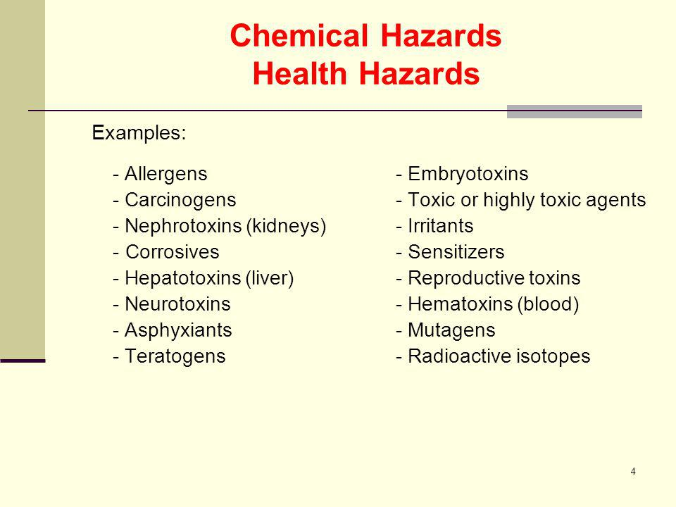 5 Chemical Hazards Physical Hazards Examples: Flammable and Combustible liquids & gases - materials which under standard lab conditions can cause a fire in the presence of an ignition source.