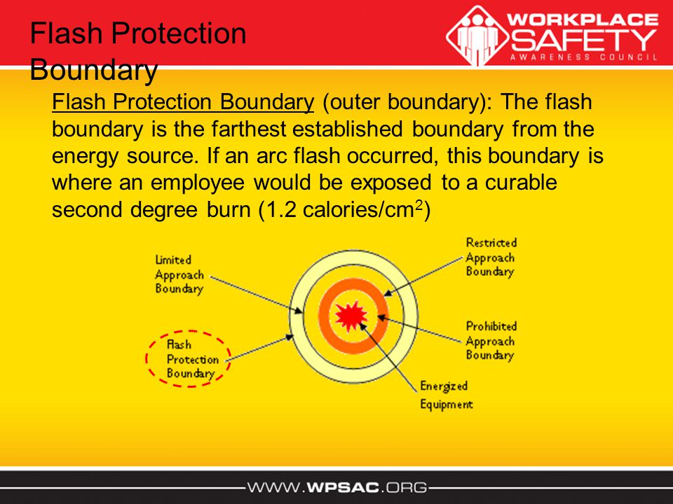 Flash Protection Boundary (outer boundary): The flash boundary is the farthest established boundary from the energy source. If an arc flash occurred,