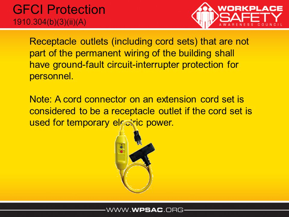 Receptacle outlets (including cord sets) that are not part of the permanent wiring of the building shall have ground-fault circuit-interrupter protect