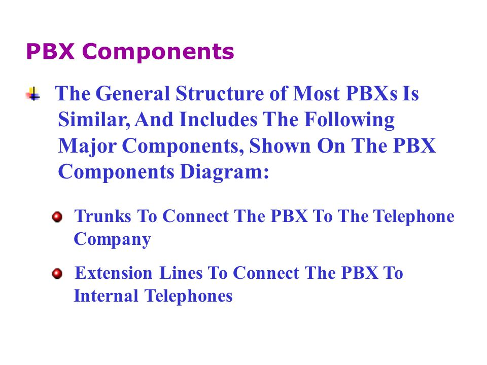 A Variety Of Other Systems Can Be Added To A PBX To Provide Specialized And Enhanced Services.