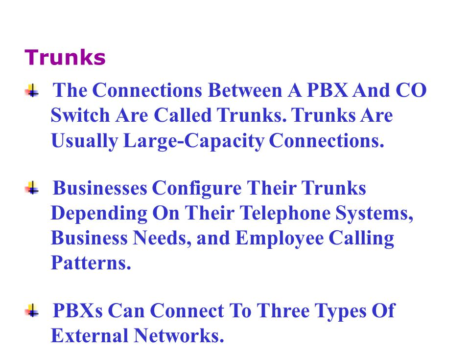 In Addition To Its Core System Features, A PBX Can Provide Many Supplementary Services: Call Hold Music On Hold Hunting Call Restrictions Or Class of Restriction Call Tracking Supplementary PBX Features