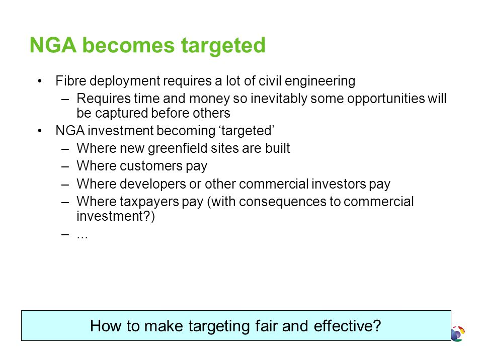 NGA becomes targeted Fibre deployment requires a lot of civil engineering –Requires time and money so inevitably some opportunities will be captured b