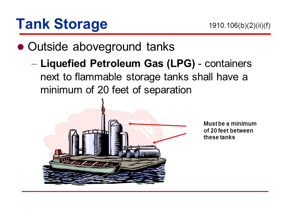 Tank Storage Outside aboveground tanks Liquefied Petroleum Gas (LPG) - containers next to flammable storage tanks shall have a minimum of 20 feet of s
