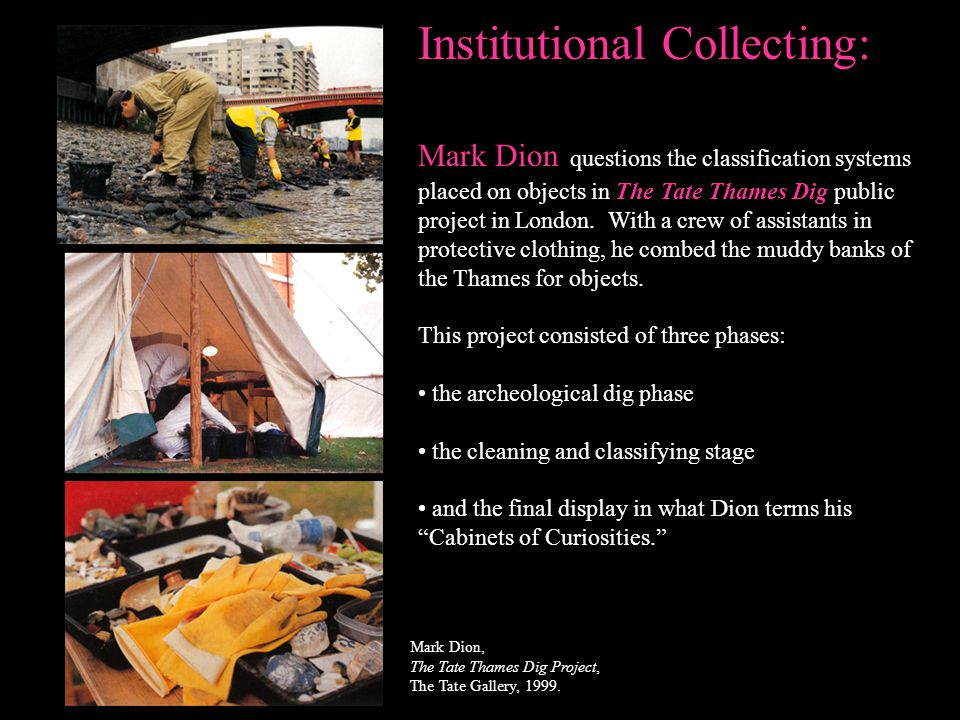 Institutional Collecting: Mark Dion questions the classification systems placed on objects in The Tate Thames Dig public project in London. With a cre