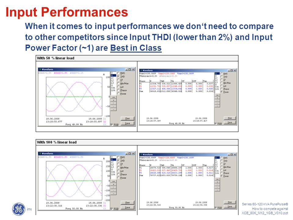SG-CE Series 60-120 kVA PurePulse® How to compete against HTC_SGS_XCE_60K_M12_1GB_V010.ppt 13 OUTPUT PERFORMANCES INPUT PERFORMANCES