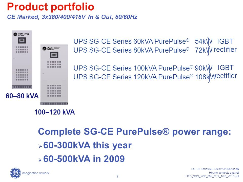 SG-CE Series 60-120 kVA PurePulse® How to compete against HTC_SGS_XCE_60K_M12_1GB_V010.ppt 22 Competitor output PF declaration : Apparently they offer OPF 0.9 leading as GE...