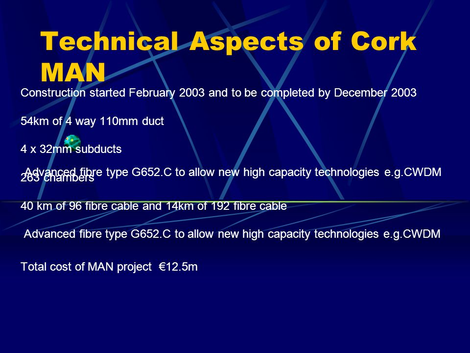 Technical Aspects of Cork MAN Construction started February 2003 and to be completed by December 2003 54km of 4 way 110mm duct 4 x 32mm subducts 263 chambers 40 km of 96 fibre cable and 14km of 192 fibre cable Advanced fibre type G652.C to allow new high capacity technologies e.g.CWDM Total cost of MAN project 12.5m Advanced fibre type G652.C to allow new high capacity technologies e.g.CWDM