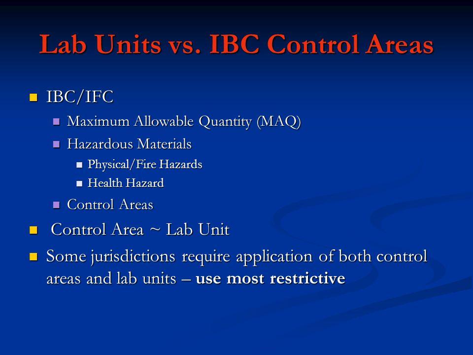 Lab Units vs. IBC Control Areas IBC/IFC IBC/IFC Maximum Allowable Quantity (MAQ) Maximum Allowable Quantity (MAQ) Hazardous Materials Hazardous Materi
