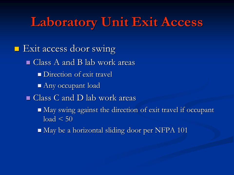 Laboratory Unit Exit Access Exit access door swing Exit access door swing Class A and B lab work areas Class A and B lab work areas Direction of exit